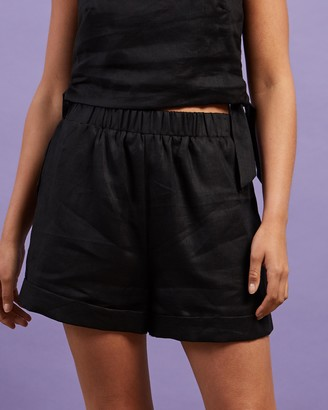 Dazie - Women's Black High-Waisted - Little Italy Linen Shorts - Size 6 at The Iconic