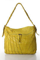 Treesje Yellow Leather Pleat Detail Tote Shoulder Handbag Size Large