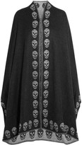 Alexander McQueen Reversible Intarsia Cashmere Cape - Charcoal
