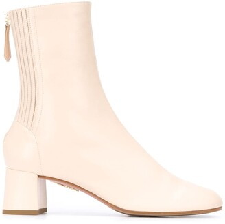 Aquazzura Leather Pleat Detail Ankle Boots