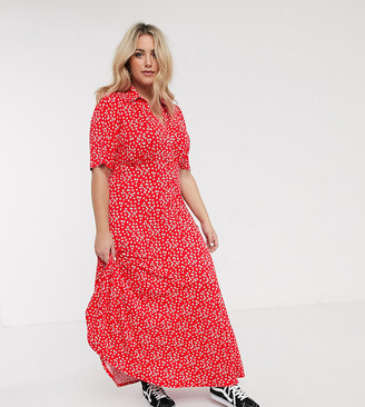 ASOS DESIGN Curve short sleeve shirt maxi dress in red ditsy print