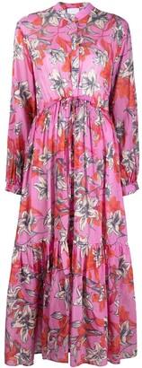 Black Coral Floral-Print Maxi Dress