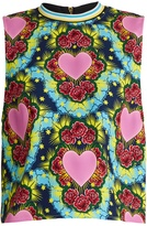 House of Holland Sleeveless heart-print crepe top