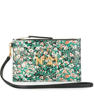 No.21 Daisy Print Logo Plaque Clutch
