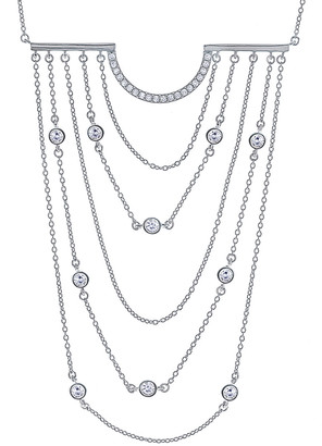 Crislu Silver Cz Statement Necklace