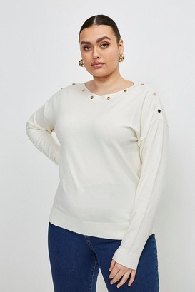 Karen Millen Curve Button Detail Slash Neck Jumper