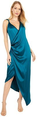 Cushnie Sleeveless Plunging Dress with Draped Bodice and Hem (Dark Teal) Women's Clothing