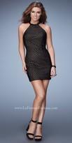 La Femme Open Back Rhinestone Neckline Homecoming Dress
