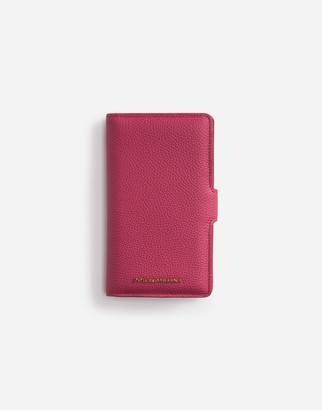 Dolce & Gabbana Iphone X Flip Case In Tumbled Calfskin With Lettering