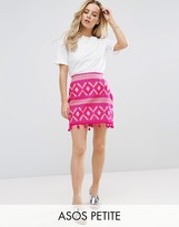 Asos Mini Skirt in Jacquard with Pom Pom Hem