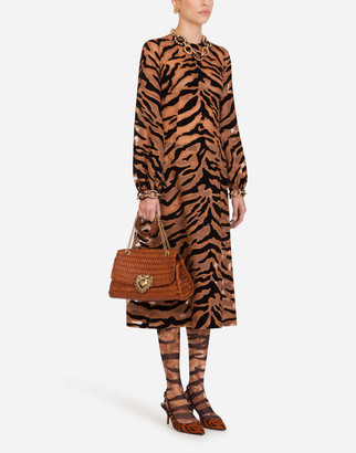 Dolce & Gabbana Longuette Dress In Organza With Flocked Tiger Print