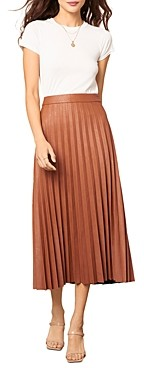 Cupcakes And Cashmere Trinity Pleated Vegan Leather Midi Skirt