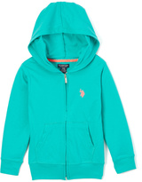 U.S. Polo Assn. Teal Blue Zip-Up Hoodie - Girls