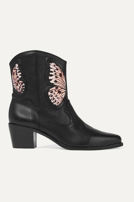 Sophia Webster Shelby Embroidered Satin-paneled Textured-leather Ankle Boots - Black