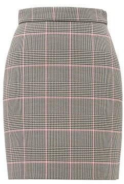 MSGM Glen-checked Cushioned-twill Mini Skirt - Black Multi