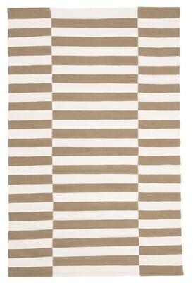 """Lauren Ralph Lauren Ludlow Stripe Flatweave Cotton Sepia Area Rug Rug Size: Runner 2'3"""" x 8'"""