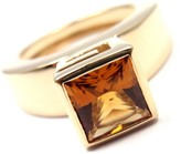 Gucci 18K Yellow Gold Citrine Ring Size 5.0