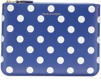 Comme des Garcons Polka-dot Leather Pouch - Womens - Navy Multi