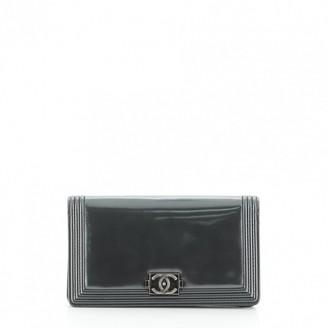 Chanel Boy Grey Leather Wallets