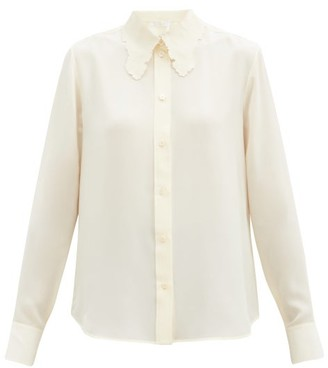 Chloé Embroidered-collar Silk-crepe Blouse - Cream
