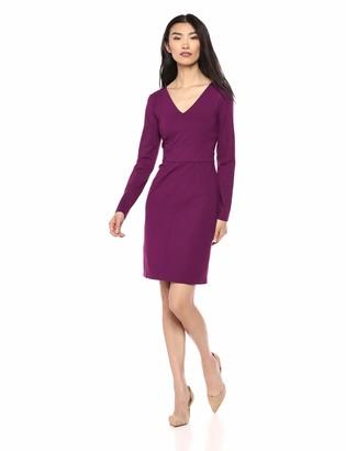 Lark & Ro Women's Long Sleeve V-Neck Paneled Waist Sheath Dress
