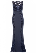 Quiz Navy Sequin Lace Insert Fishtail Maxi Dress