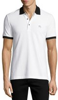 Burberry Camberwell Contrast-Trim Cotton Piqué Polo Shirt, Black/White