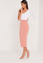 Missguided Carli Bybel Longline Jersey Double Layer Midi Skirt Pink