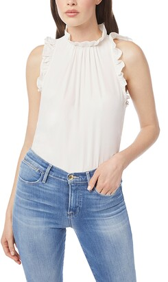 Frame Ruffle Trim Silk Top