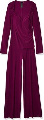 Norma Kamali Women's Long Sleeve Sweetheart Side Drape Jumpsuit