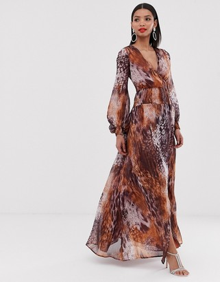 Asos DESIGN maxi dress with smocking detail in mixed animal print