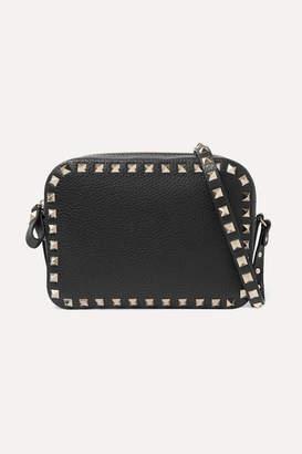 Valentino Garavani The Rockstud Textured-leather Shoulder Bag - Black