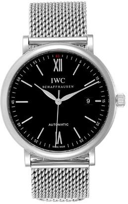 IWC Black Stainless Steel Portofino IW356506 Men's Wristwatch 40 MM