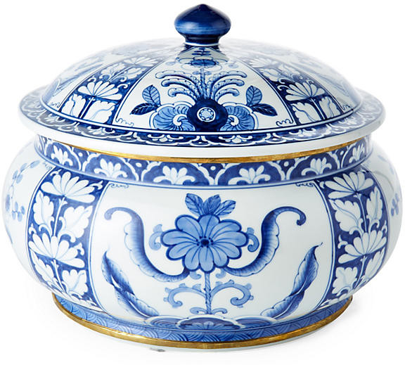 "One Kings Lane 10"" Chinoiserie Canister - Blue/White"