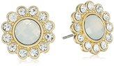 """lonna & lilly Sun Showers"""" Worn Gold-Tone and White Halo Stud Earrings"""