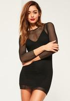 Missguided Petite Black Fishnet Long Sleeve Mini Dress