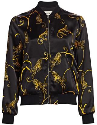 L'Agence Ollie Tiger-Print Silk Bomber