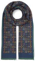 Drakes Navy Geometric Print Wool Scarf