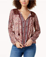 Lucky Brand Beaded-Shoulder Peasant Top
