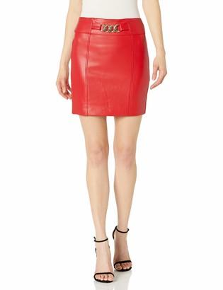 GUESS Women's Janet Metal Trim Faux Leather Mini Skirt