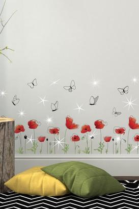 Swarovski Walplus Crystal Embellished Red Poppy Wall Sticker