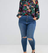 Asos RIDLEY High Waist Skinny Jeans in Corinne Darkwash with Rips and Busts