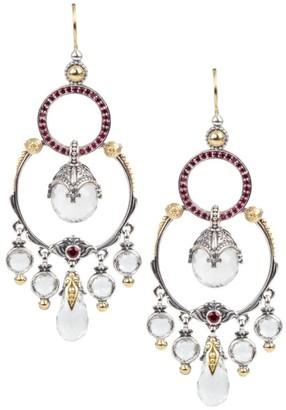 Konstantino Sterling Silver/18K Yellow Gold Crystal & Corundum Chandelier Earrings