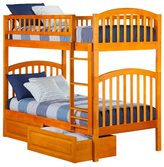 Atlantic Richland Caramel Latte Rubberwood Twin Over Twin Bunk Bed With Raised Panel Bed Drawers