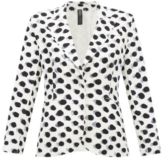 Norma Kamali Watercolour Polka-dot Single-breasted Blazer - White Black