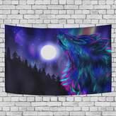 JSTEL Home Fashion Custom Tree Wolf Moon Night Tapestry Wall Decor Living Room, Throw Bedspread, Dorm Tapestries DIY