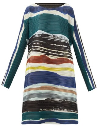 Pleats Please Issey Miyake Leaf Vein Striped Plisse Crepe Mini Dress - Navy Multi