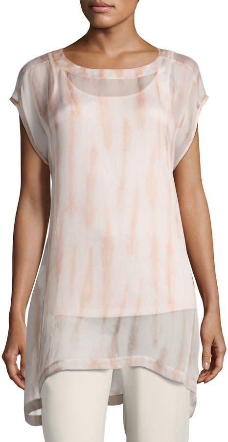 Eileen Fisher Cap-Sleeve Sheer Silk Shibori Tunic, Coral