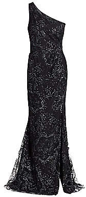 Marchesa Women's Embellished One-Shoulder Gown - Size 0