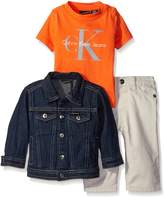 Calvin Klein Baby-Boys Denim Jacket with Short Sleeve Tee and Pants
